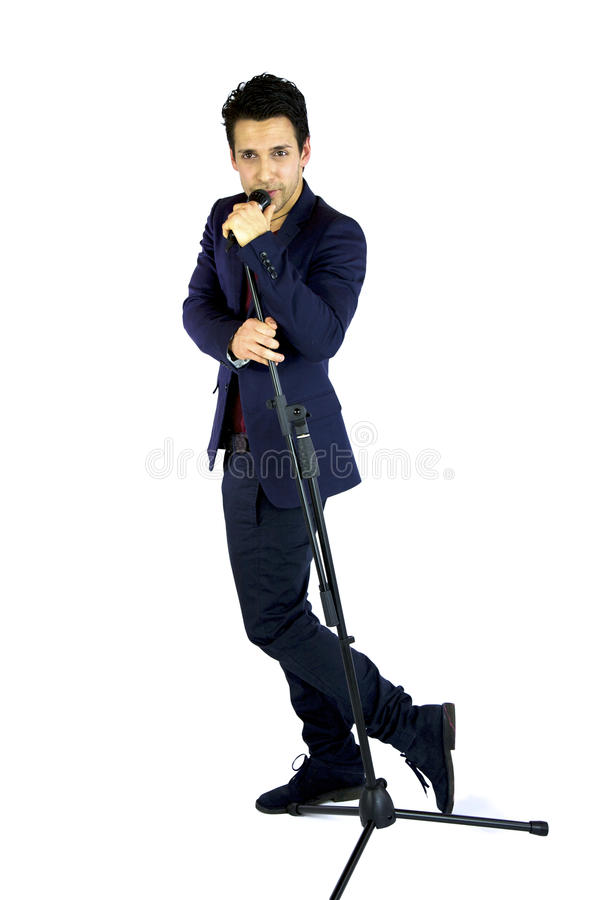 Download Wide Shot Of Singer With Microphone Stock Image - Image: 24806691