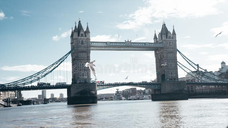 Wide shot of the Tower Bridge on the River Thames in London, England stock photography