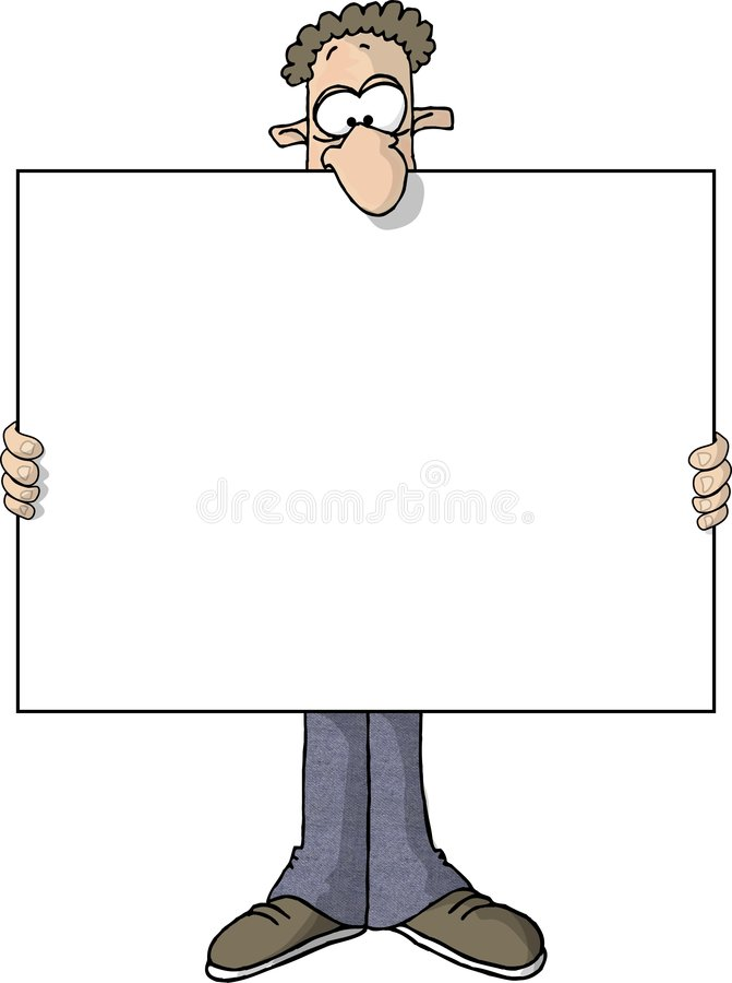 Wide sign man stock illustration