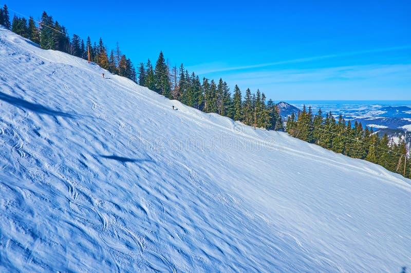 The wide ski run, Zwolferhorn, St Gilgen, Salzkammergut, Austria royalty free stock image
