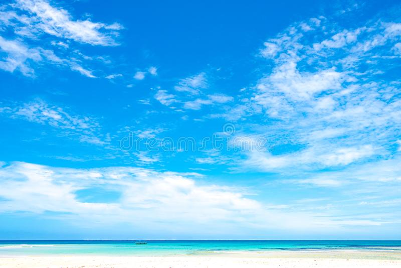 Wide sky with clouds over turquoise sea, Fiji royalty free stock images