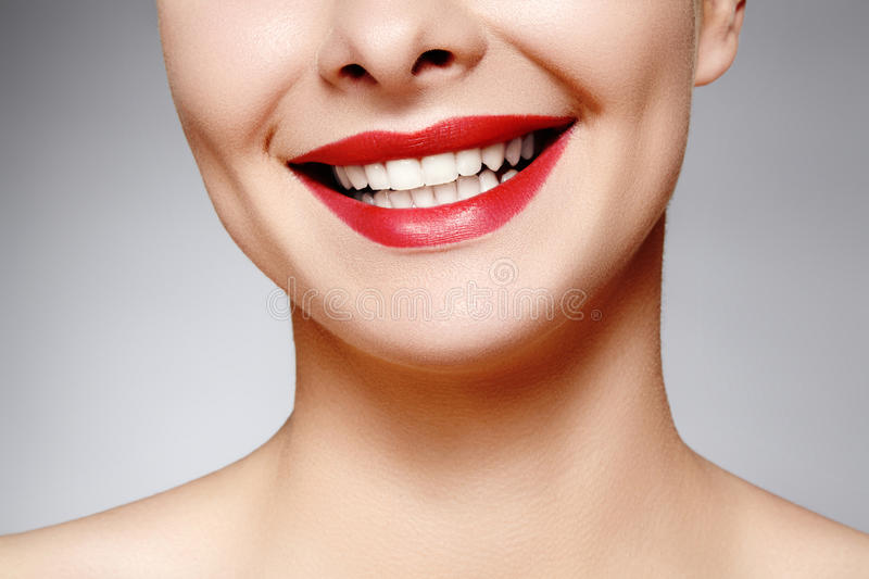 Wide smile of young beautiful woman, perfect healthy white teeth. Dental whitening, ortodont, care tooth and wellness royalty free stock photography