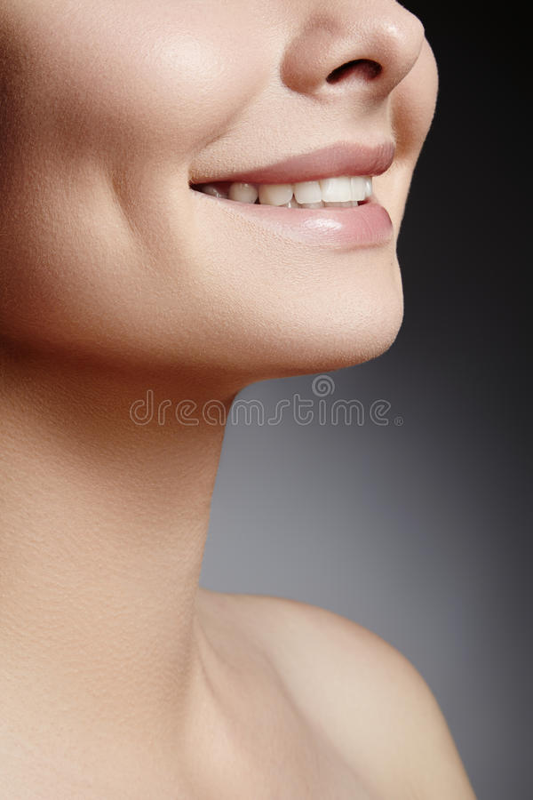Wide smile of young beautiful woman, perfect healthy white teeth. Dental whitening, ortodont, care tooth and wellness stock photo