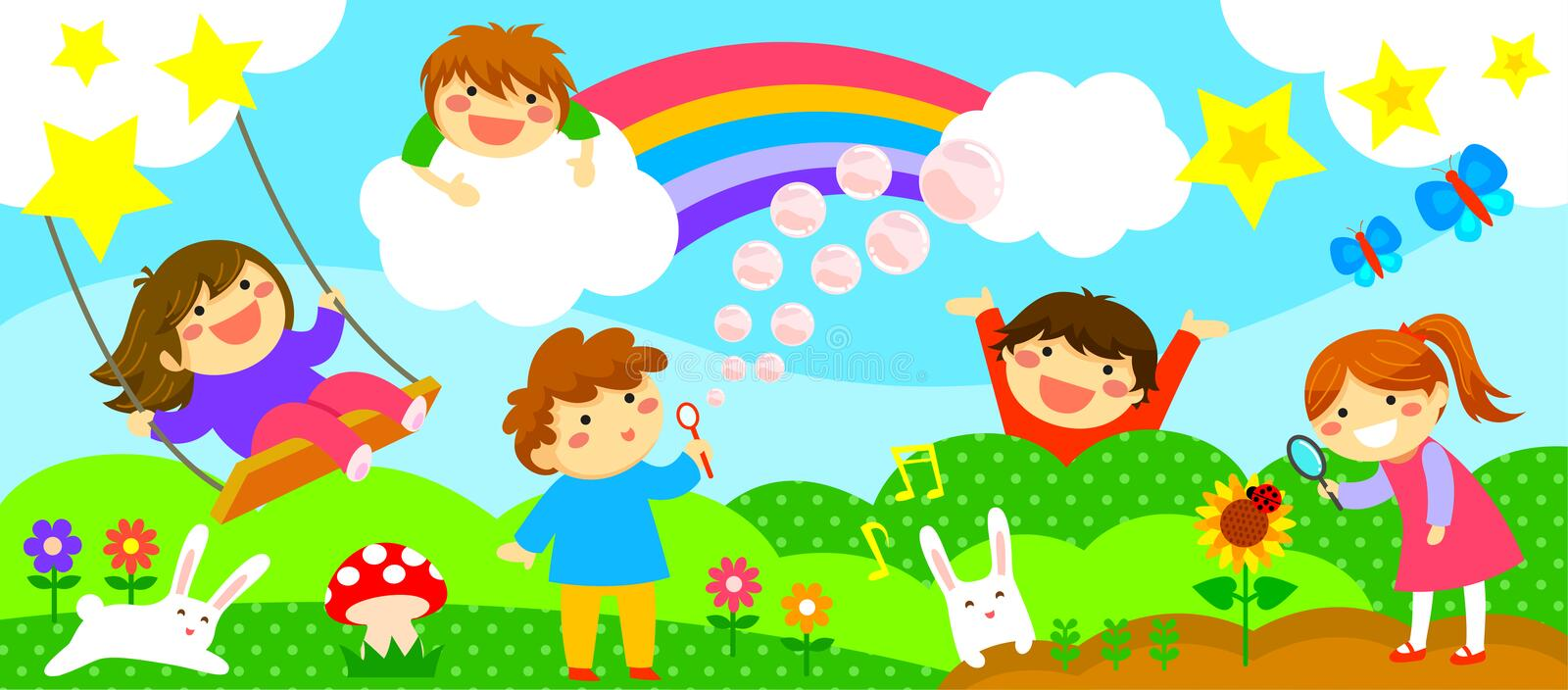 Wide strip with happy kids. Wide horizontal strip with happy kids playing in a fantasy world stock illustration