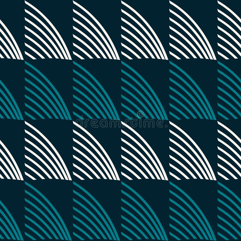 Wide stripes filled with arched forms seamless blue and white pa stock illustration