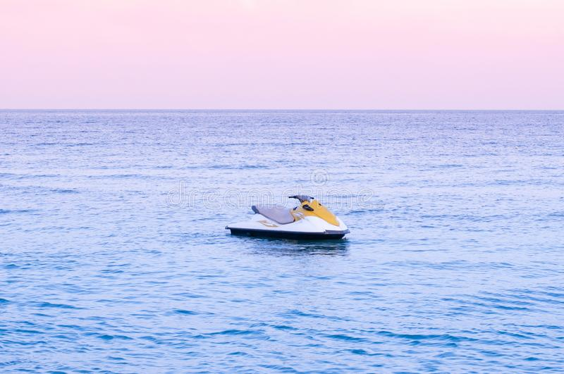 Wide summer tropical seascape pink tone Sunset or sunrise sky in Samui with Jet Ski stock photography