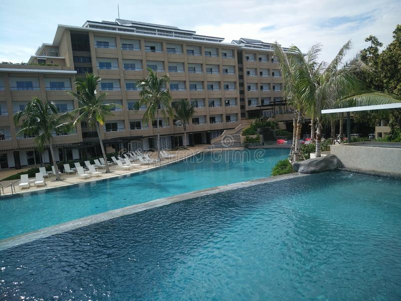 Wide Swimming Pool for Kids and Adults in Panglao Island, Bohol in the Philippines. Wide Swimming Pool for Kids and Adults in Panglao Island, Bohol in the stock images