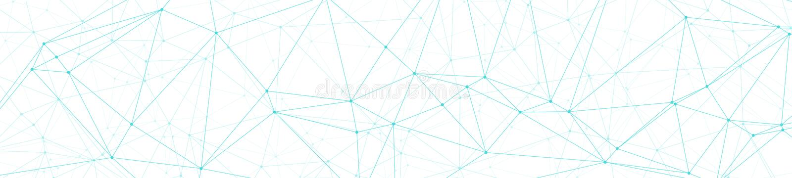 Wide tech triangles wires, abstract polygonal concept, vector lines and circle dots connected, wide banner or header background. Technology science background stock illustration