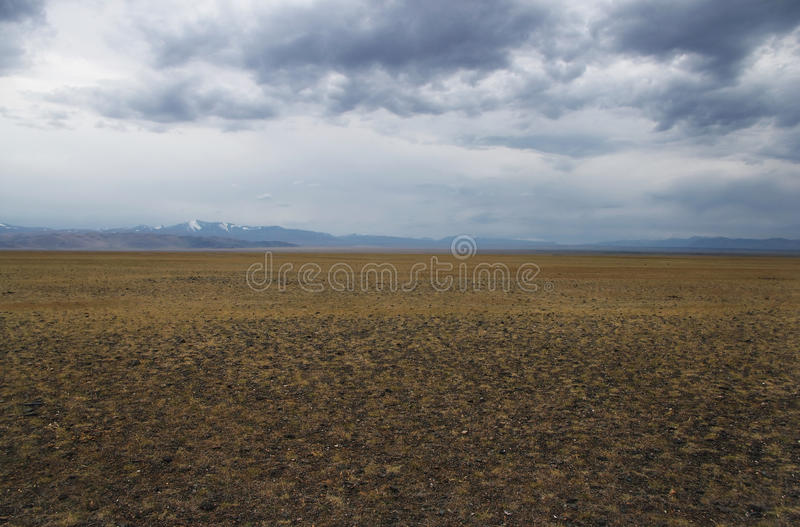 A wide valley steppe plateau with yellow grass and stones under a cloudy sky stock photo