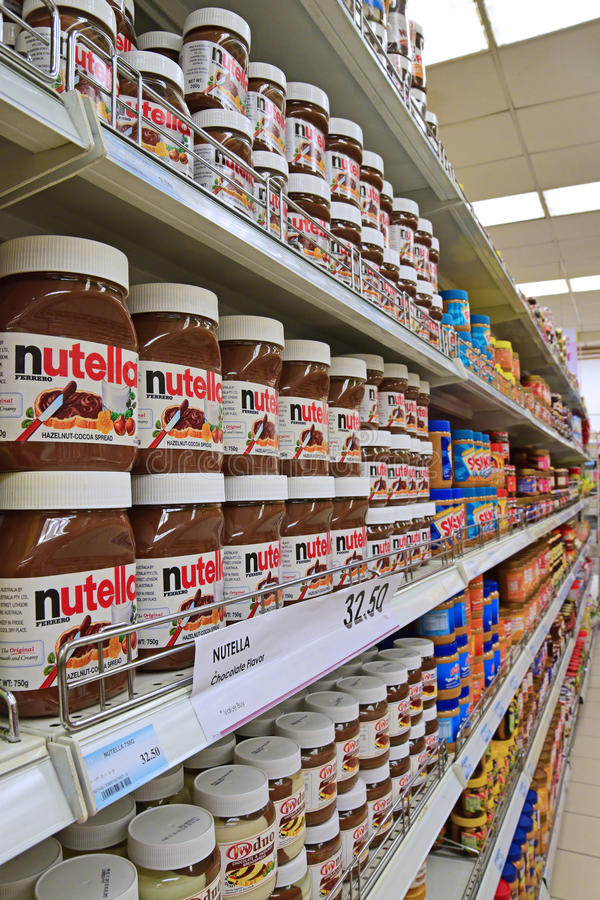 Wide Variety of Breadspread on Supermarket Shelf stock photo