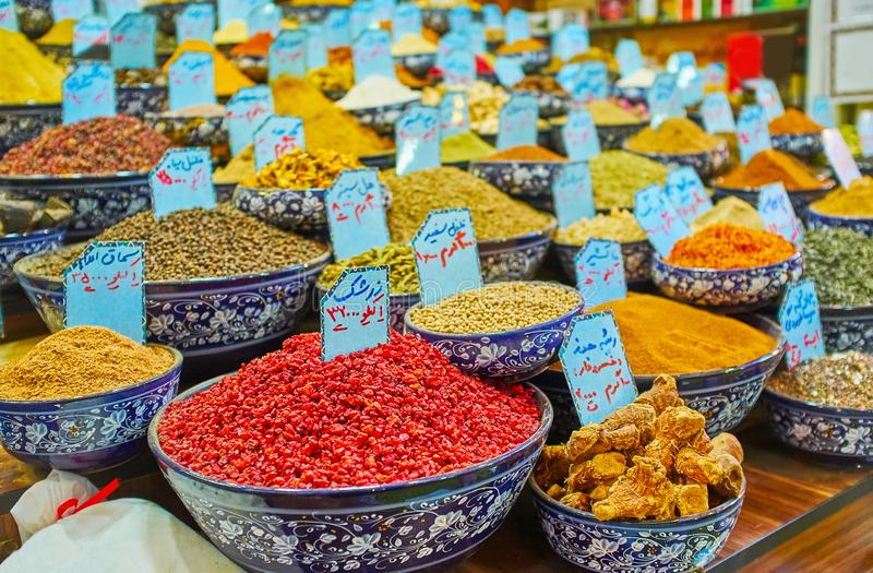 The wide variety of spices, Vakil Bazaar, Shiraz, Iran stock photos