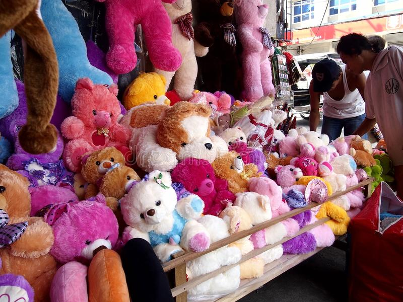 A wide variety stuffed toy animals on display royalty free stock image
