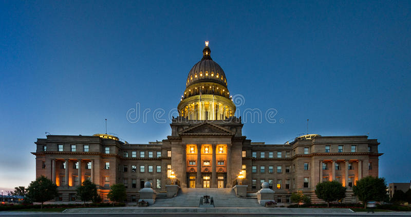 Wide view of the boise capital building. Boise capital building shot with fisheye then corrected or distortion royalty free stock photo