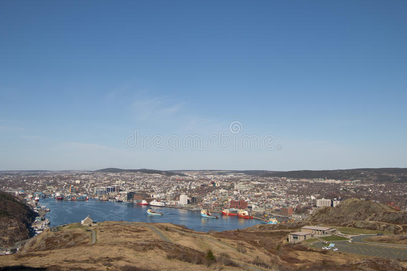 Wide view of the city of Saint Johns and its harbour stock photos