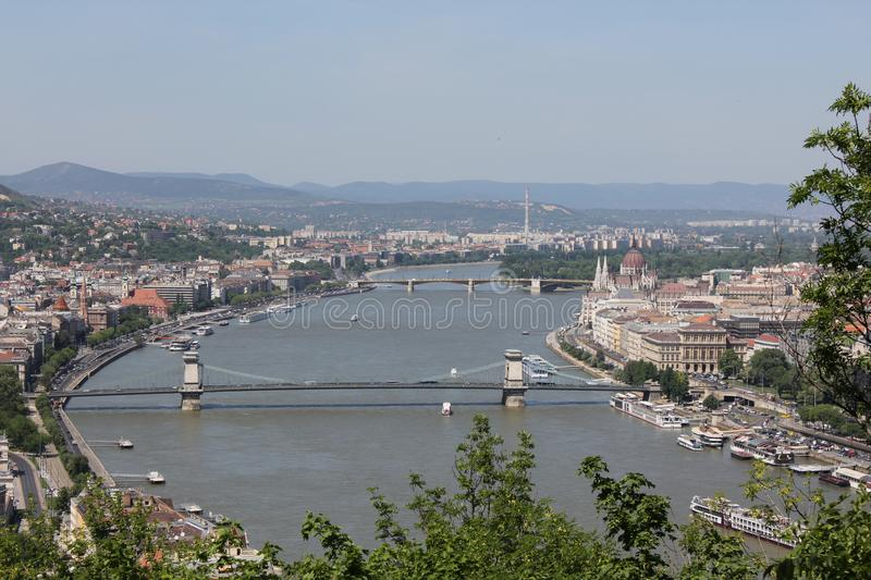 Wide view of Danube river with bridges and Island royalty free stock images