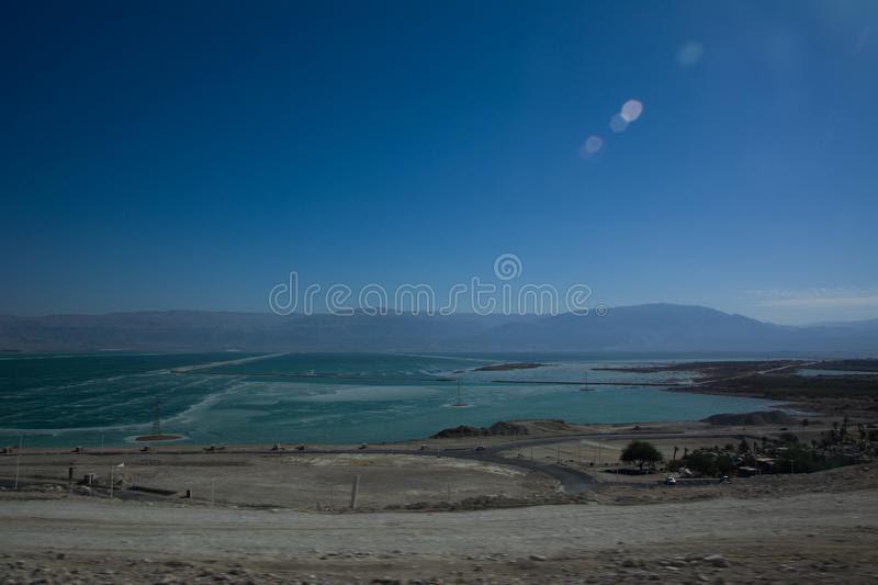 Wide view of desert road through the Isreal southwest. View of desert road through the Isreal southwest stock photos