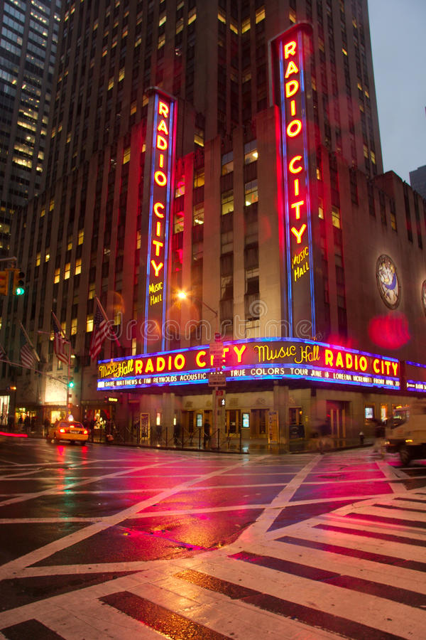 Wide view of the famous Radio City Music Hall royalty free stock images