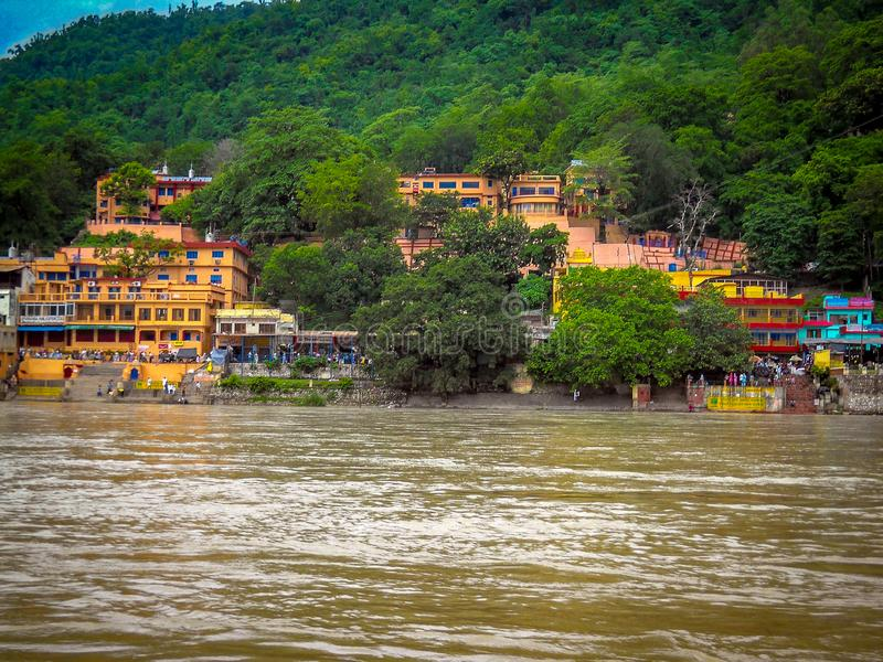 Wide view of Ganga river in Rishikesh India, Wide Ganga river in India, ganga river. Wide view of Ganga river in Rishikesh India, Wide Ganga river in India royalty free stock photos
