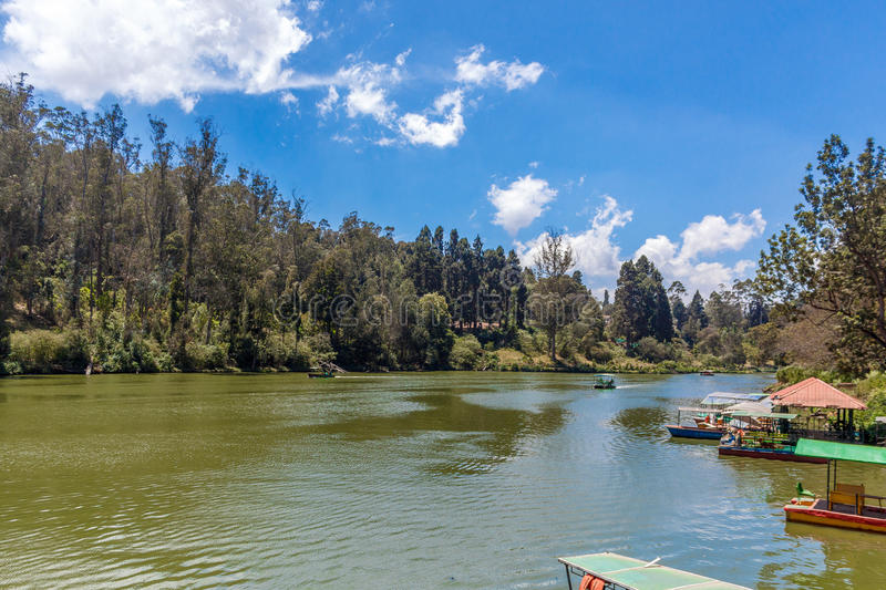 Wide view of lake with boats, beautiful tress in the background, Ooty, India, 19 Aug 2016. Wide view of lake with boats, beautiful tress in the background royalty free stock image