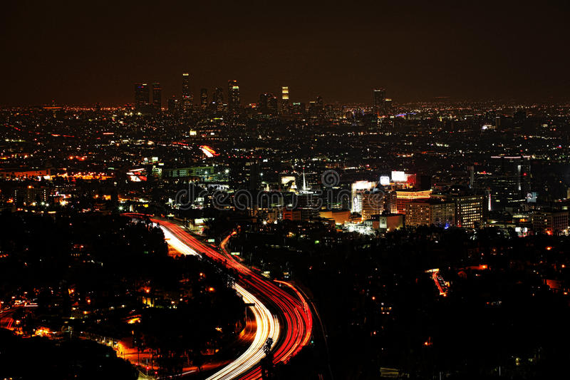 A wide view of Los Angeles at night. Wide view of Los Angeles at night royalty free stock photography