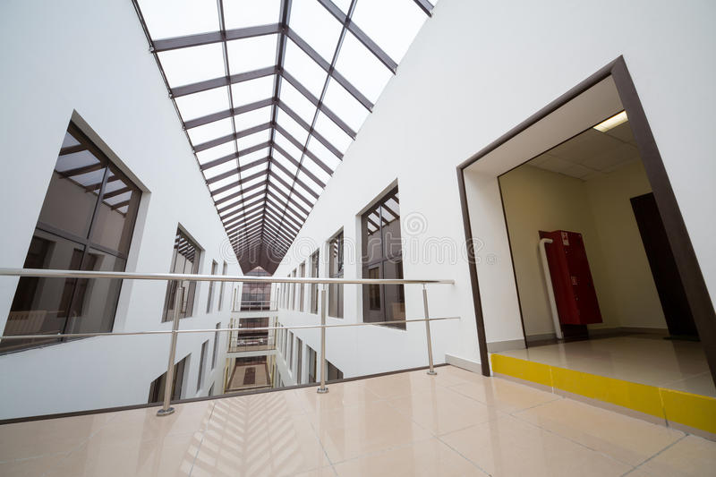 Wide view of modern beautiful interior of Business Center Smirnovsky royalty free stock image