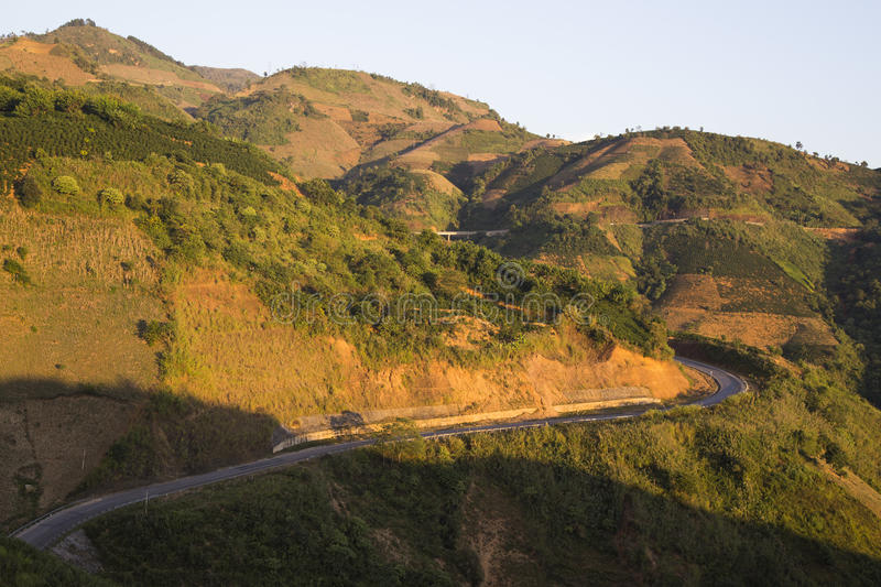 Wide view of Pha Din mountain pass stock images