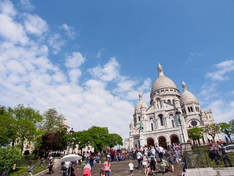 Wide view of Sacre Couer on clear day, Paris, France stock photography