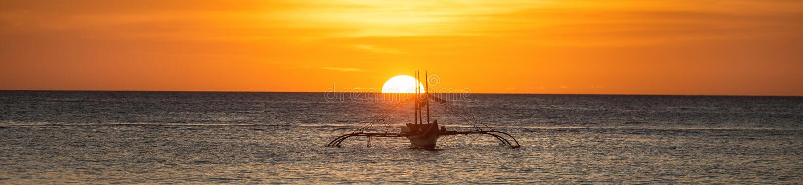 A wide view of the sea and sunset royalty free stock images