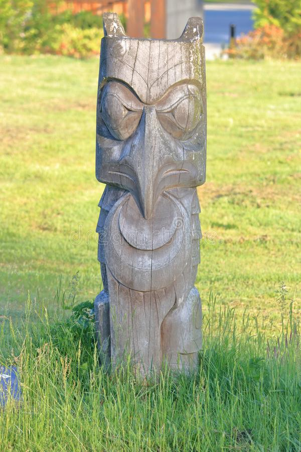 Sto:Lo First Nations Cemetery Carving stock image