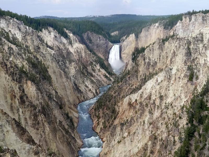 Wide view of upper yellowstone falls from artist point in yellowstone stock photo