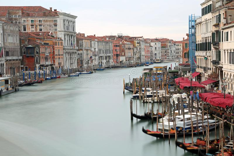 wide waterway called Canal Grande in Venice with long exposure stock photography