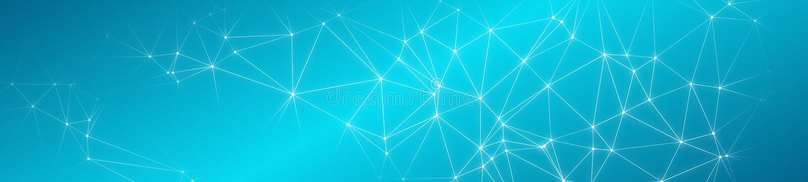 Wide web banner connected lines and circle dots. Modern minimal abstract geometric connections banner backdrop stock image