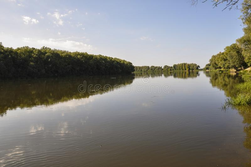 Wide yellow river is slow flowing. Early autumn. Sunny weather and brightgreen trees on the banks fron the both sides stock photo