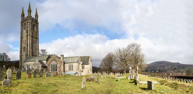 Widecombe församlingkyrka Devon arkivbild