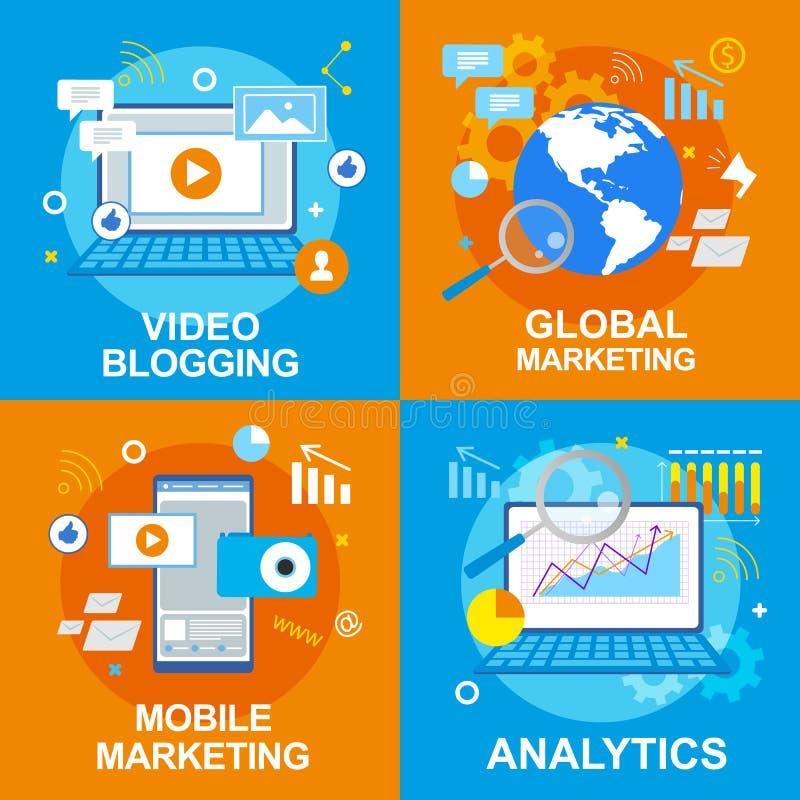 Wideo Blogging Globalne Mobilne Marketingowe analityka royalty ilustracja