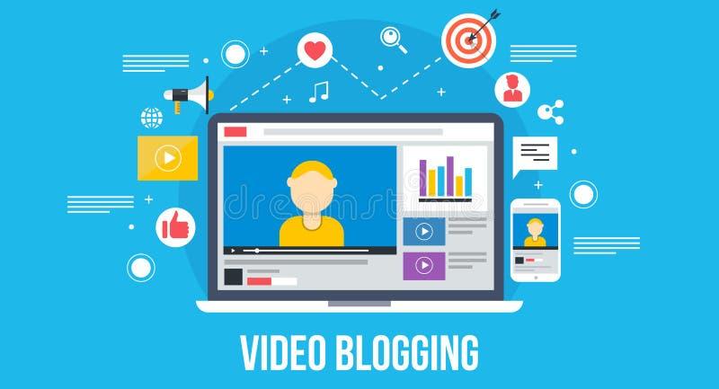 Wideo blogging - płaski projekta pojęcie royalty ilustracja