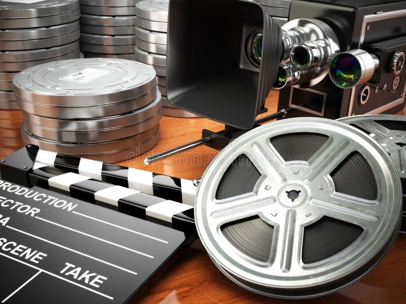Wideo, film, kinowy rocznika pojęcie Retro kamera, rolki i cl, royalty ilustracja