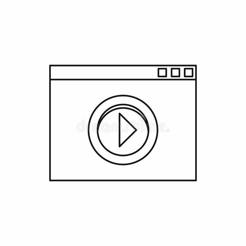 Wideo filmu odtwarzacza medialnego ikona, konturu styl obrazy stock