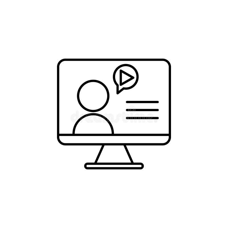 Wideo gadki ikona Element wideo produkty zarysowywa ikonę dla mobilnych pojęcia i sieci apps Cienka kreskowa wideo gadki ikona mo ilustracja wektor