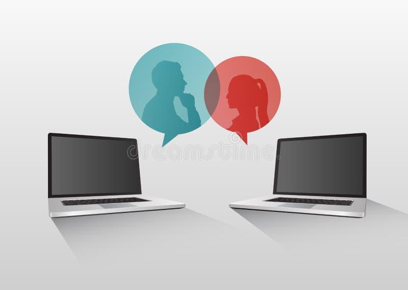 Wideo gadki pojęcia wektor z laptopami i mową gulgocze royalty ilustracja