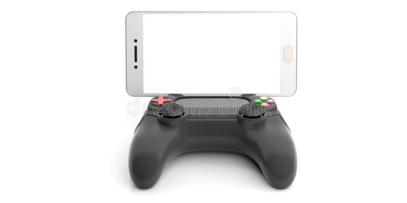 Wideo gier konsoli kontroler i smartphone ilustracja 3 d ilustracji