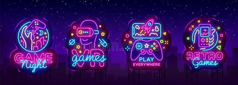 Wideo gier logów neonowego znaka projekta inkasowy Wektorowy szablon Konceptualne Vr gry, Retro Gemowy noc logo w neonowym stylu ilustracji