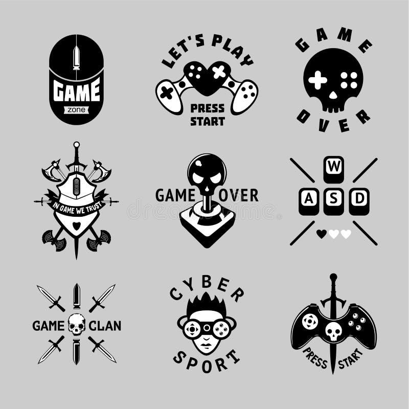 Wideo gier rocznika emblemata wektorowy set Retro stylowi hazardów znaki Koszulka druki dla gamers Czarny i biały tatuaż royalty ilustracja
