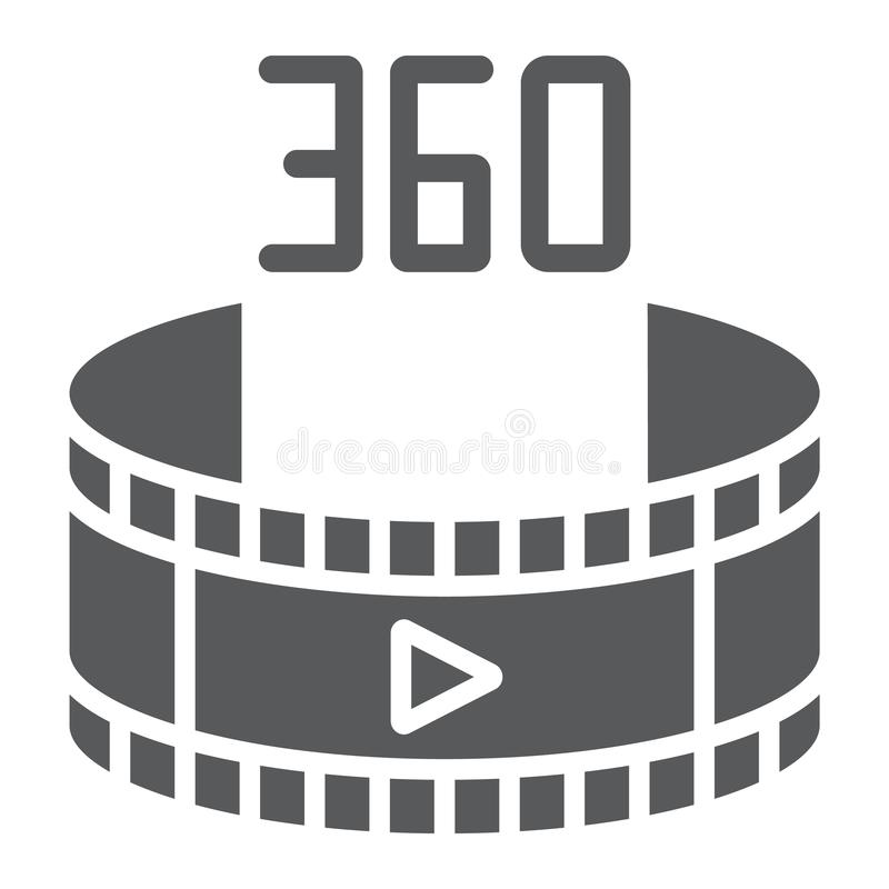 360 wideo glifu ikona, obracanie i widok, panoramiczny wideo znak, wektorowe grafika, bryła wzór na białym tle ilustracja wektor