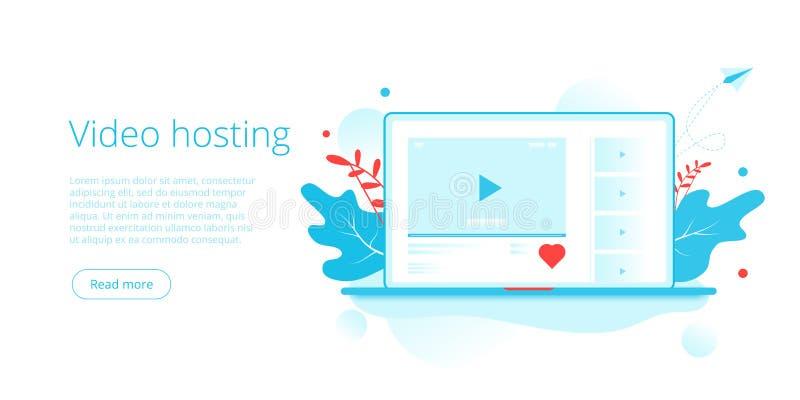 Wideo gości pojęcie w isometric wektorowej ilustracji Online lejący się usługowego tło z laptopem jak guzik i socjalny ilustracja wektor