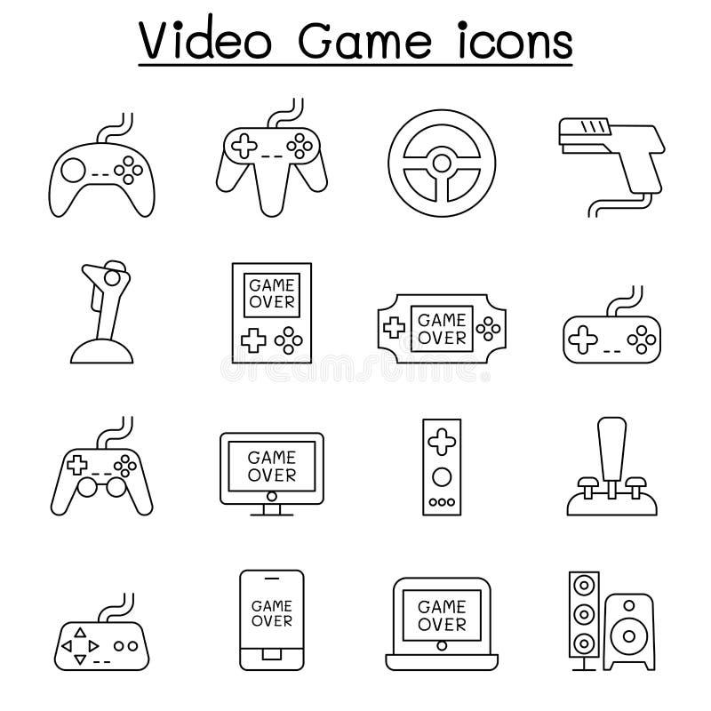 Wideo gry ikona ustawiająca w cienkim kreskowym stylu ilustracja wektor