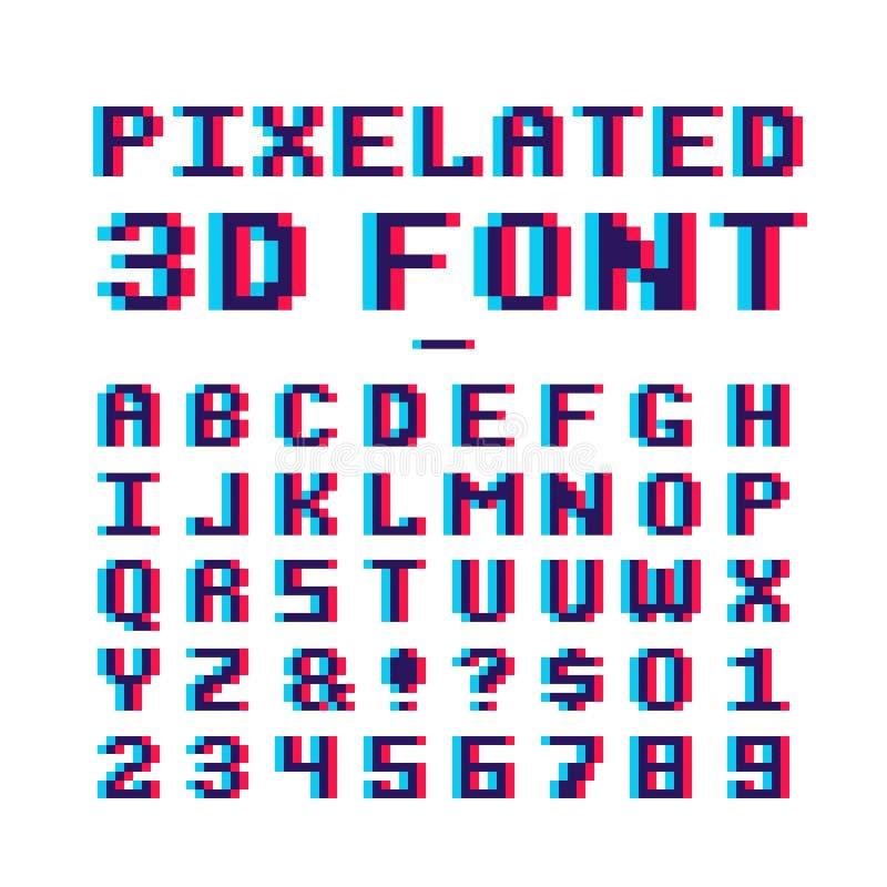 Wideo gry pixelated 3d chrzcielnica 8 kawałków piksla sztuki starej szkoły łaciński abecadło z anaglifu wykoślawienia skutkiem ilustracja wektor