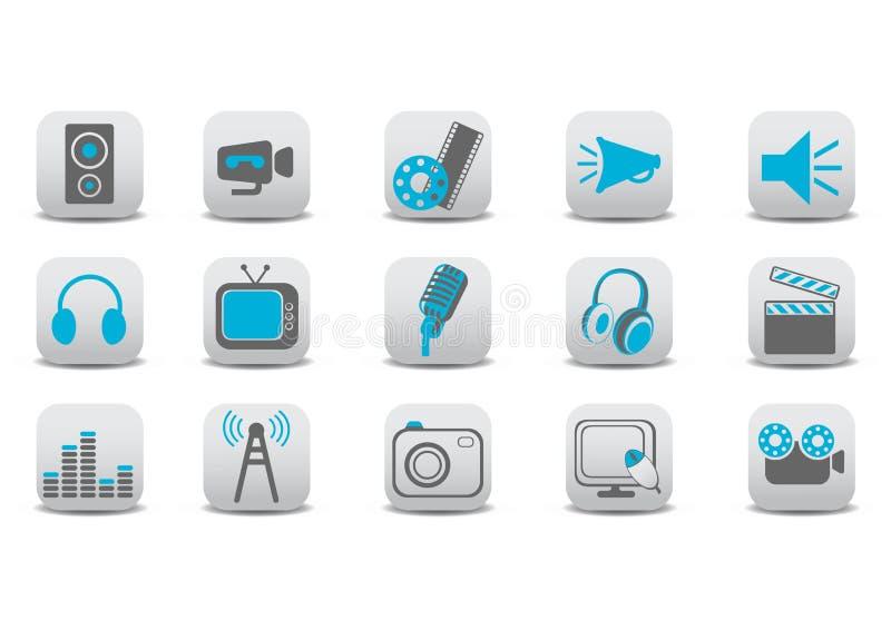 Wideo i audio ikony ilustracja wektor