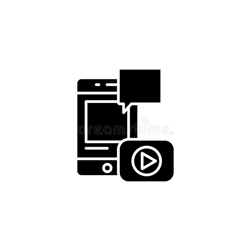 Wideo ikony raportowy czarny pojęcie Wideo raportowy płaski wektorowy symbol, znak, ilustracja royalty ilustracja