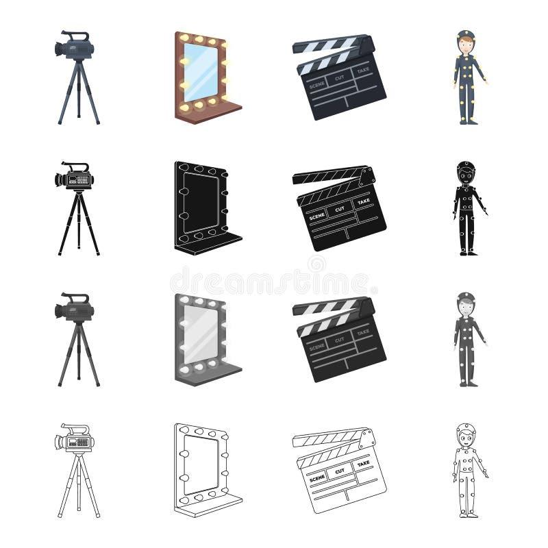 Wideo, kamera, ekran i inna sieci ikona w kreskówka stylu, Film, chłopiec, odziewa, ikony w ustalonej kolekci ilustracja wektor